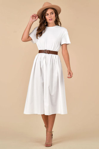 front_Blank Canvas White Midi Dress