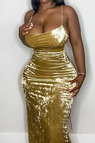 front_Carol Irlan Yellow Halter Bodycon Dress