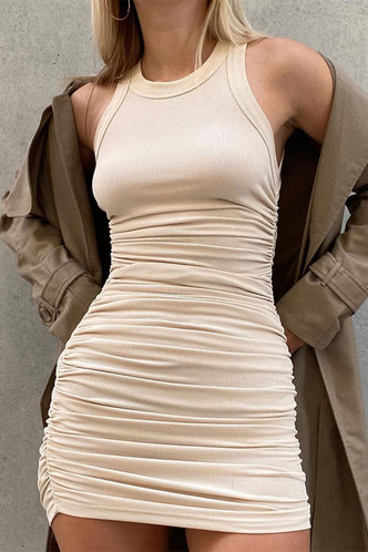 front_Carmelita Apricot Ruched Dress