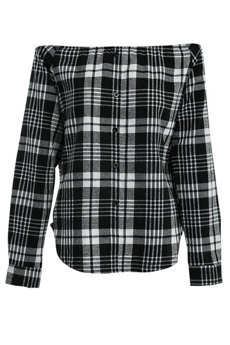front_Candy Crushin' Black And White Plaid Tartan Top