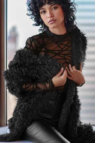back_A little love Black Waterfall Collar Coat