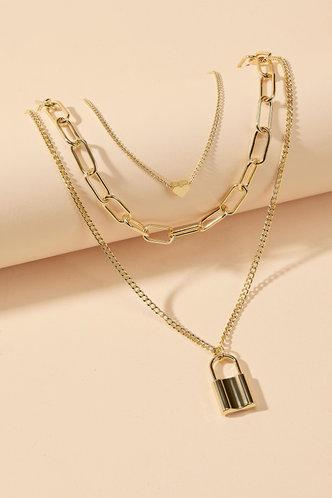 back_Lynn Eileen Gold Lock Pendant Chain Necklace