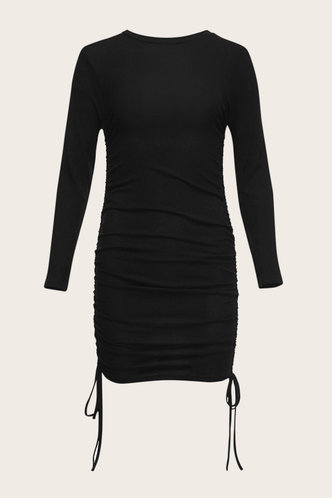 back_Alexander Black Ruched Ribbed Dress