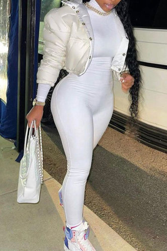 front_High Neck Other  conventional Pencil Pants White Jumpsuits