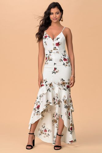 front_I Want It Ivory Floral Print Maxi Dress