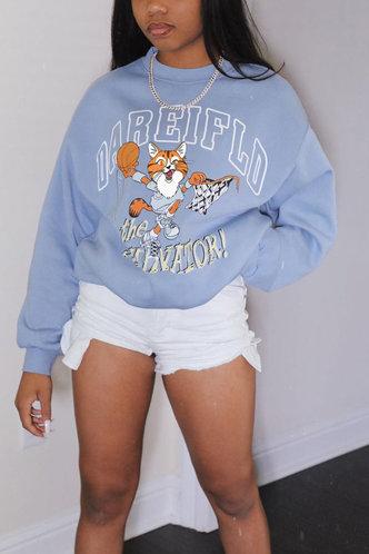 front_Crew Neck All over print Cartoon Baby Blue Sweatshirts & Hoodies
