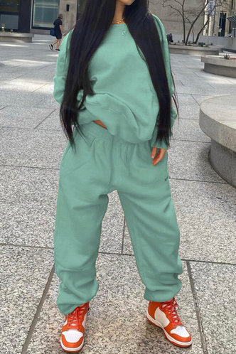 front_Plain Elastic Band Pullover Mint Green Pants Sets