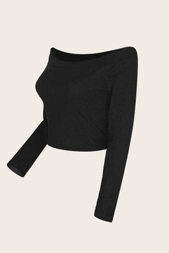 back_Off the Shoulder Black Sweaters