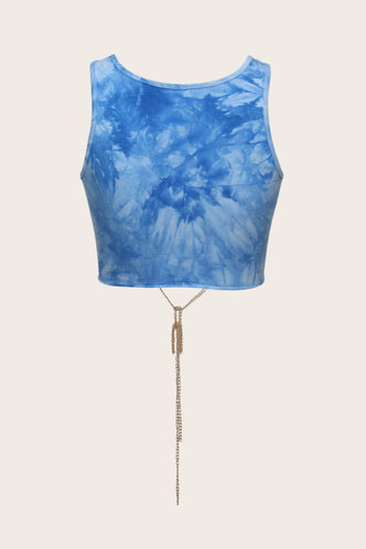 back_Smith seven Blue Tie Dye Lace-Up Crop Top