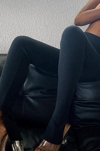 front_Rhoda Edwina Black Split Hem Pants