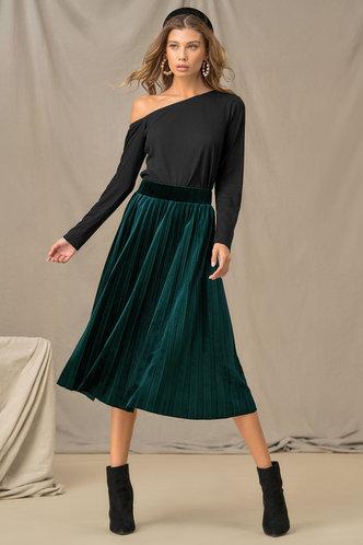back_Velvet Love Dark Green Pleated Skirt