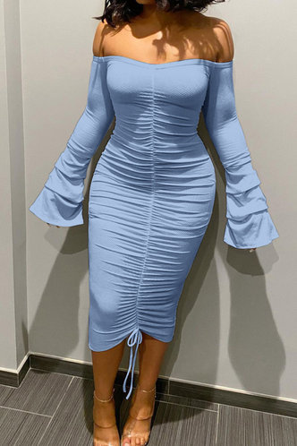 front_Long Off the Shoulder Blue Plain Dress
