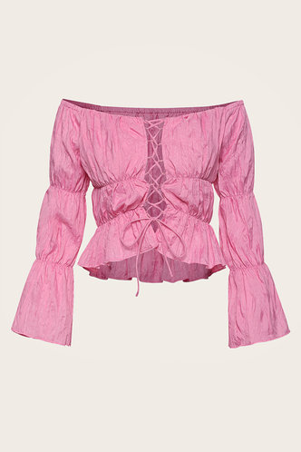 back_Emma Rose Pink Lace-Up Top
