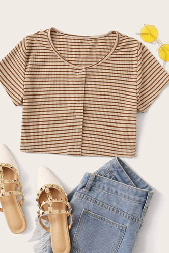 front_Pearl Edith Khaki Striped Tee