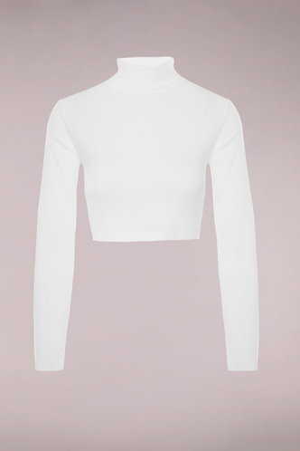 front_Emmerson White Long Sleeve Crop Top
