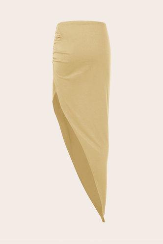 back_Mid Waist Plain Shirred Apricot Skirts