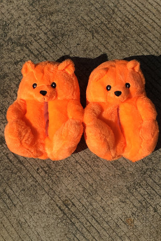 back_Plain Flat Orange Slippers