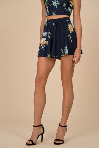 front_Blooming Dark Navy Floral Print Shorts