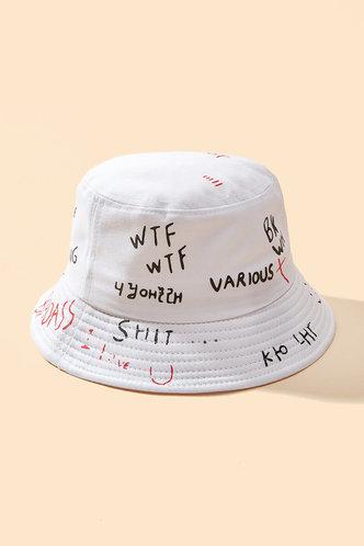 back_Jamie Eden White Letter Print Bucket Hat