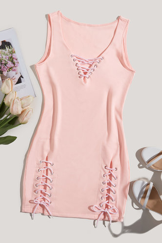 back_Millie Elsa Light Pink Lace Up Bodycon Dress