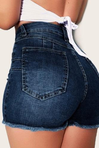 back_Damaris Emma Wash Blue Denim Shorts