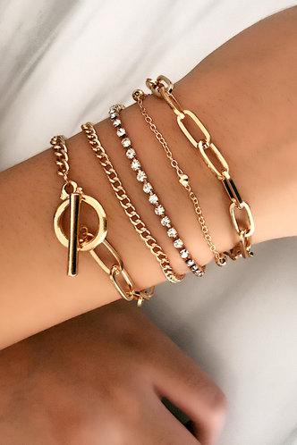 front_Casual Rainstone Gold Bracelets