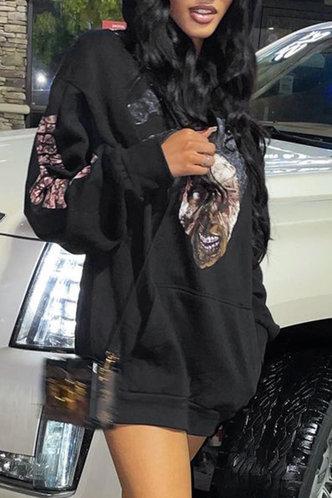 back_Street Hoodie Figure Pocket Black Sweatshirts & Hoodies
