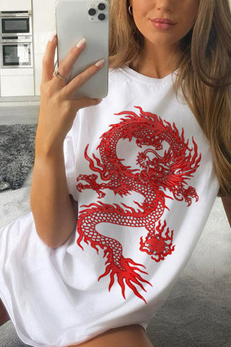 front_Buena Edith White And Red Dragon Print Tee