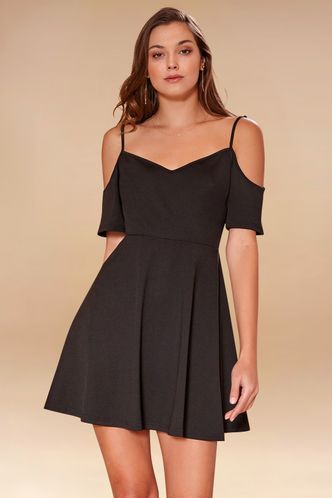 front_Make You Mine Black Mini Dress