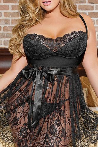 front_Gage Plain Lace  Black Plus Sexy Lingerie
