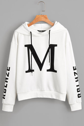 front_Don't Hate  Black And White Letter Sweatshirt