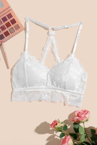 back_Plain Floral Hollow Out White Bras & Bralettes