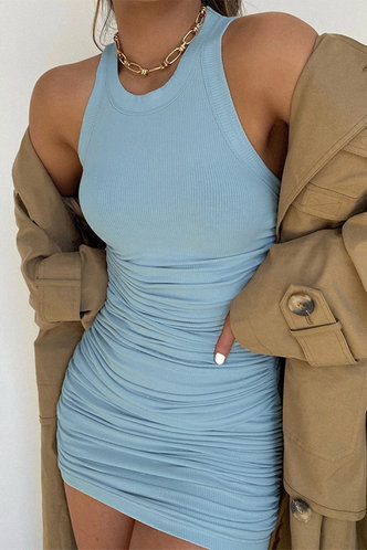 front_Carmelita Blue Ruched Dress
