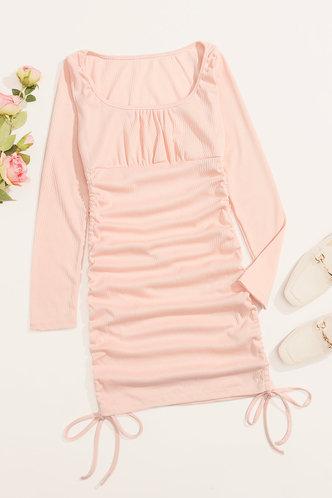 back_Verde Mock Neck Crop Pink Dress