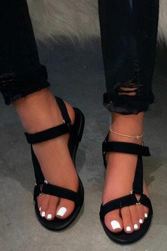 front_Cora Erica Black Strap Sandals