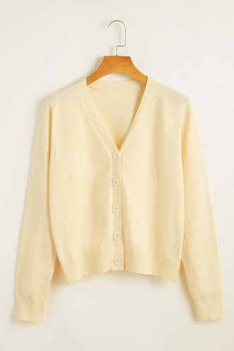 front_V Neck Solid Buttons Regular Sleeve Apricot Sweaters