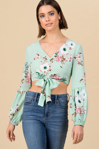 front_Mint Condition Green Floral Print Knot Blouse
