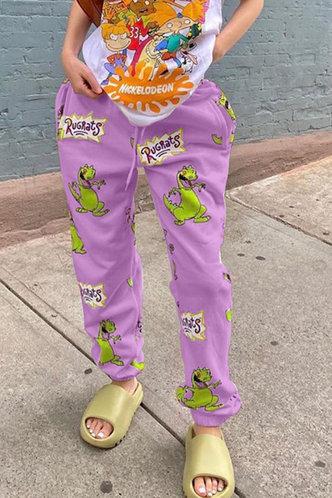 front_Elisabeth Elizabeth Purple Cartoon Print Sweatpants
