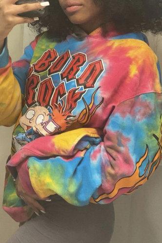 back_Hoodie   No special process Pullover Tie Dye Sweatshirts & Hoodies