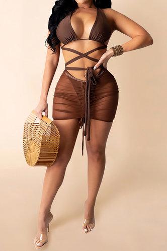front_Coral Glaving Brown Bikini