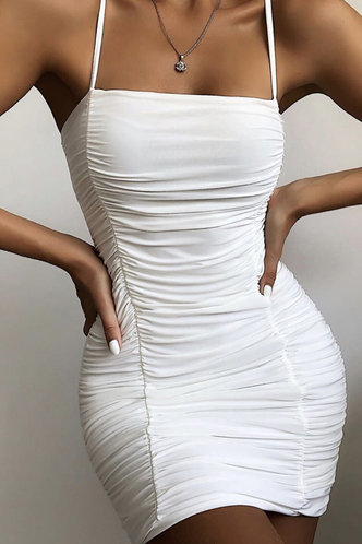 front_Brenda Eleanore White Tie Shoulder Ruched Bodycon Dress