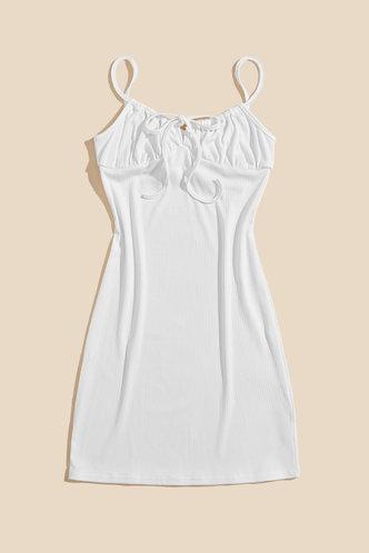 back_Sabina Elaine White Tie Front Cami Dress