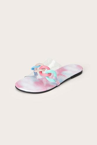 back_Sallie Elma Rainbow Print Chain Decor Slide Sandals