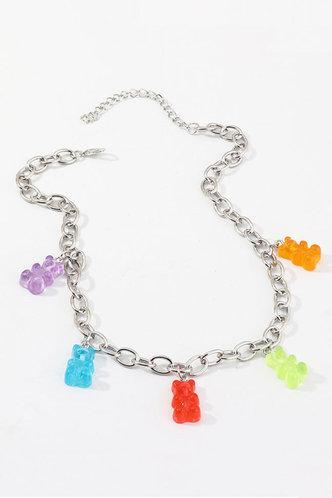 front_Leonore Elma Sliver Bear Pendant Chain Necklace