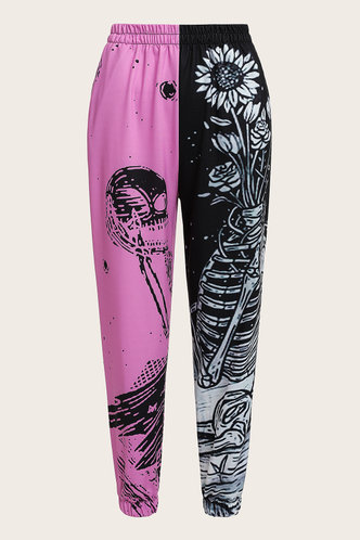 back_Beverley Edith Black And Pink Sweatpants