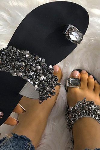 front_Ivory Elvira Black Slide Sandals
