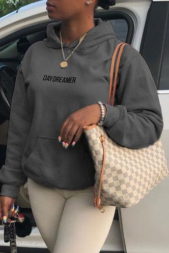 front_Casual Hooded Collar Letter Pocket Dark Grey Sweatshirts & Hoodies