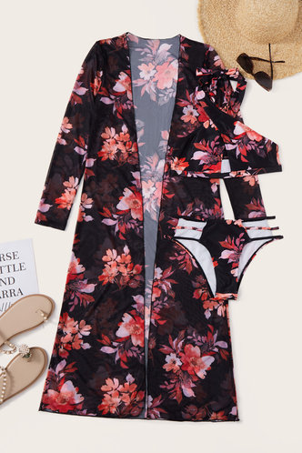 back_Halter All Over Print Backless See-through Black Floral Print Bikini Sets