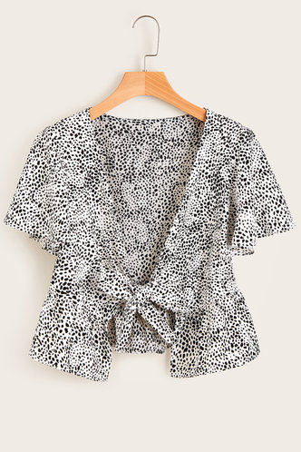 front_Lysa Black And White Dalmatian Print Dalmatian Peplum Top