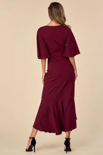 back_Sweet Salsa Dreams Burgundy Wrap Dress